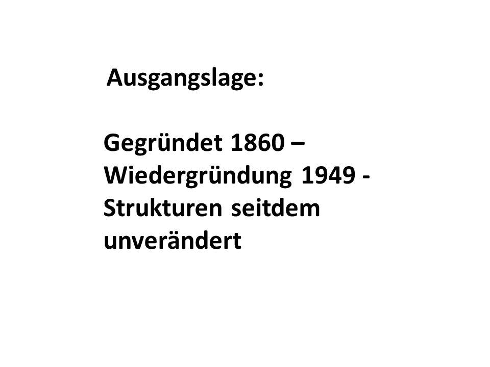 Ausgangslage: Gegründet 1860 – Wiedergründung 1949 - Strukturen seitdem unverändert
