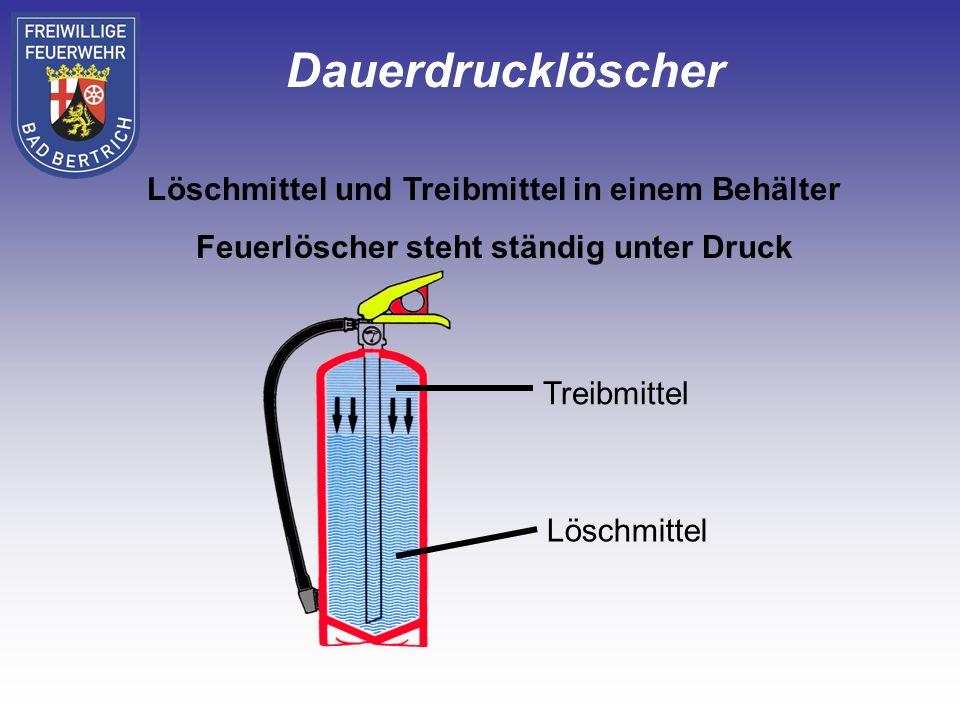 Dauerdrucklöscher Löschmittel und Treibmittel in einem Behälter