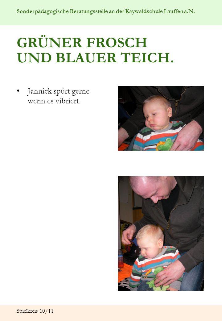 GRÜNER FROSCH UND BLAUER TEICH.