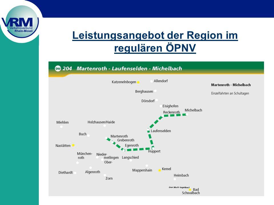 Leistungsangebot der Region im regulären ÖPNV