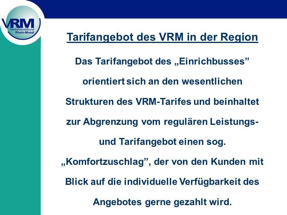 Tarifangebot des VRM in der Region