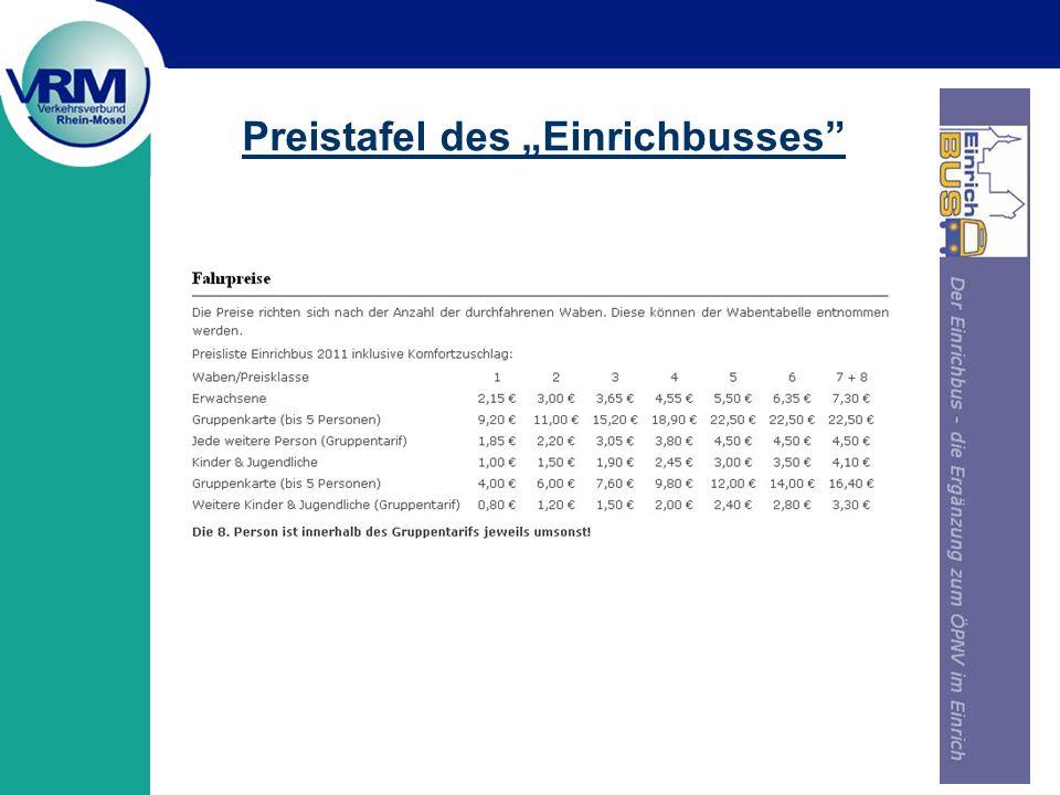 """Preistafel des """"Einrichbusses"""