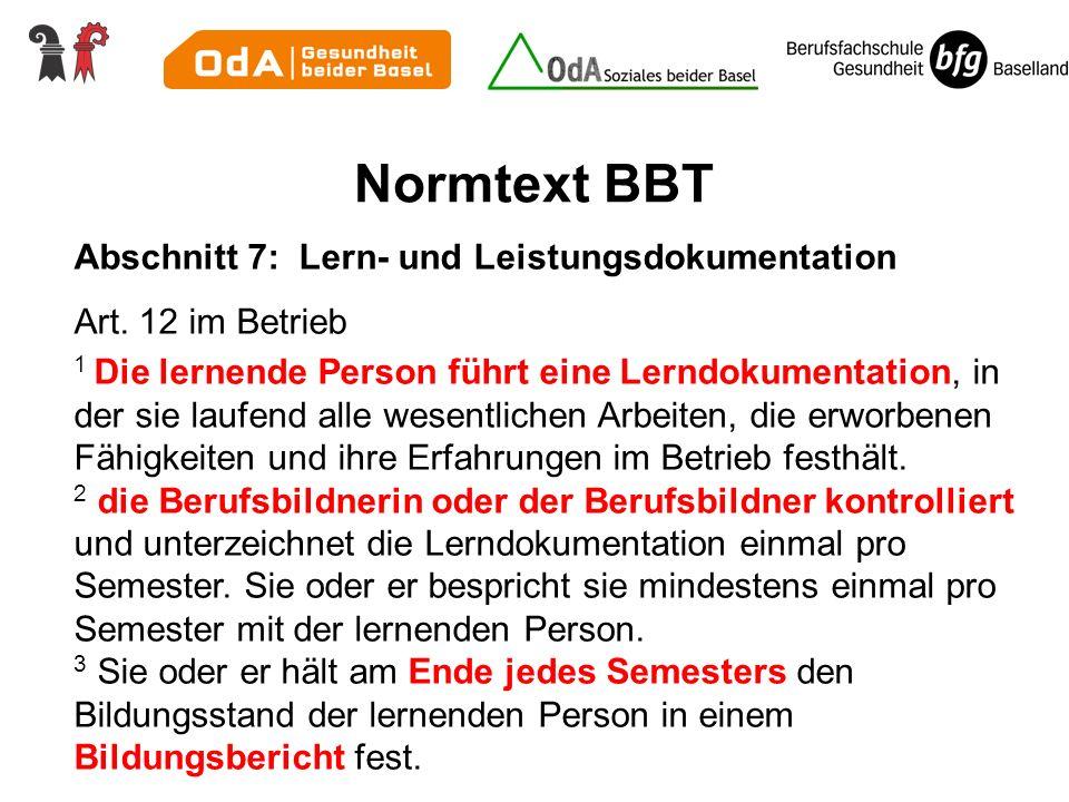 Normtext BBT Abschnitt 7: Lern- und Leistungsdokumentation