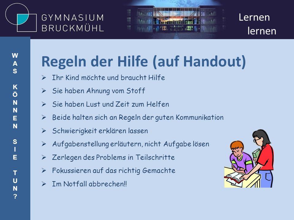 Regeln der Hilfe (auf Handout)