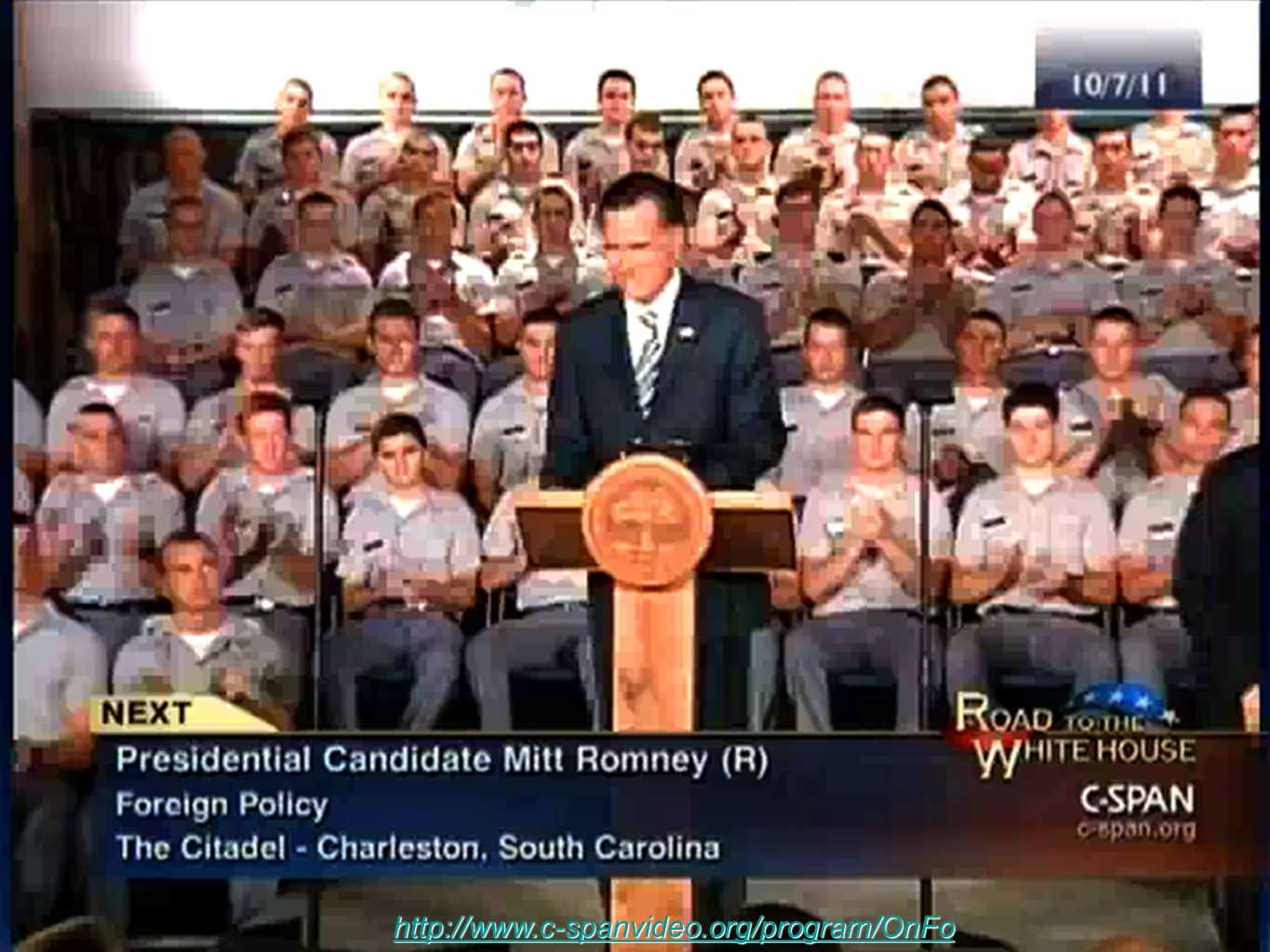 Mitt Romney Remarks On Foreign Policy 7. Oct. 2011