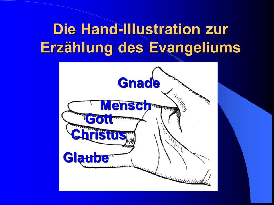 Die Hand-Illustration zur Erzählung des Evangeliums