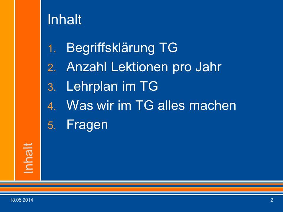Inhalt Begriffsklärung TG Anzahl Lektionen pro Jahr Lehrplan im TG