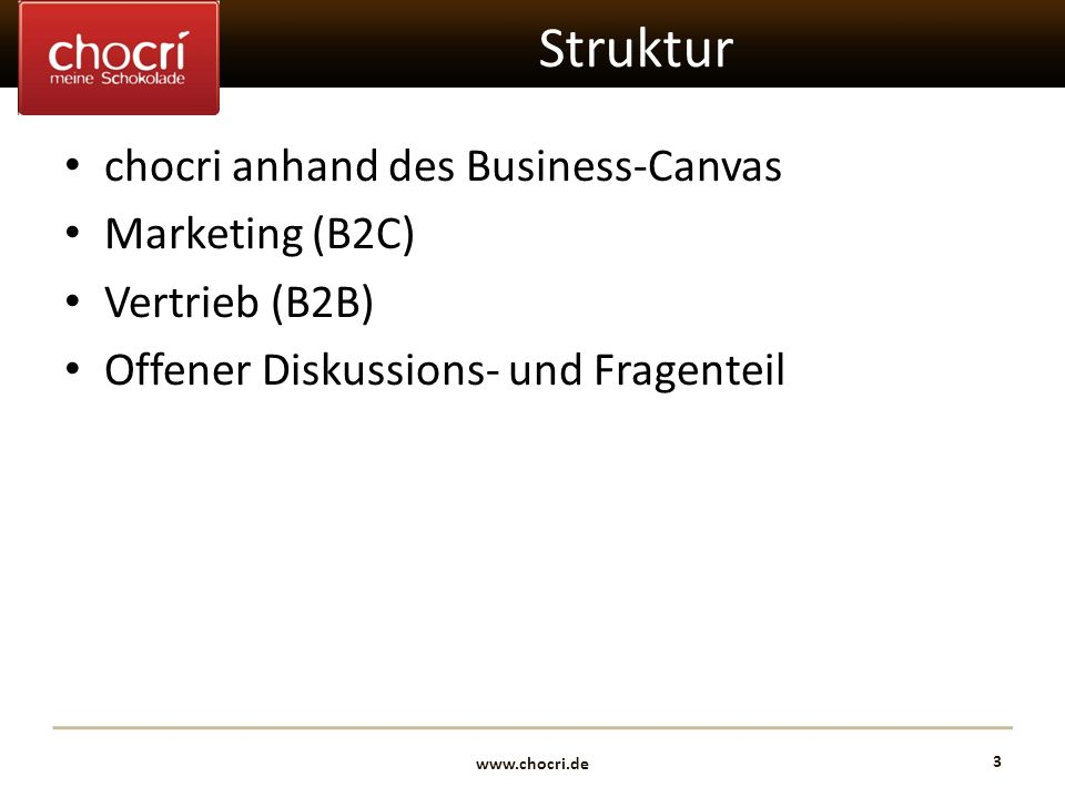 Struktur chocri anhand des Business-Canvas Marketing (B2C)