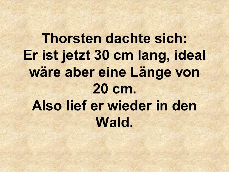 Thorsten dachte sich: Er ist jetzt 30 cm lang, ideal wäre aber eine Länge von 20 cm.