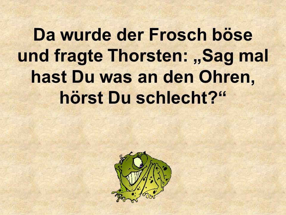 """Da wurde der Frosch böse und fragte Thorsten: """"Sag mal hast Du was an den Ohren, hörst Du schlecht"""