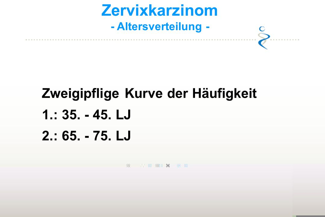 Zervixkarzinom 1.: 35. - 45. LJ 2.: 65. - 75. LJ