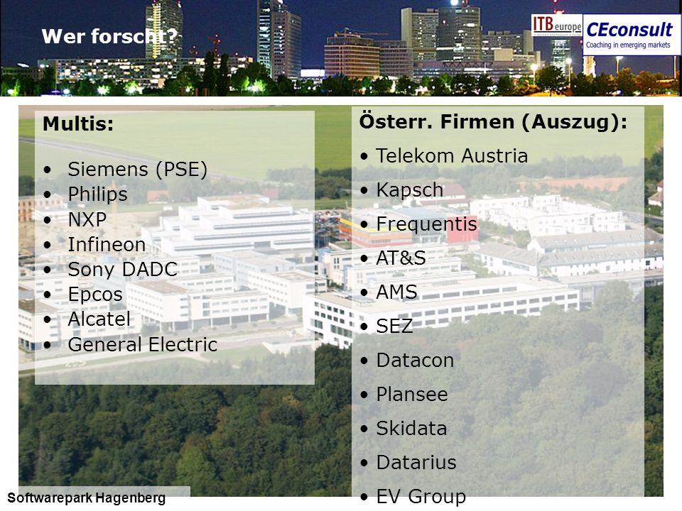 Österr. Firmen (Auszug): Telekom Austria Kapsch Frequentis AT&S AMS