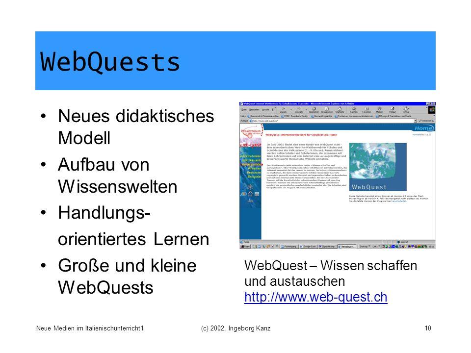 WebQuests Neues didaktisches Modell Aufbau von Wissenswelten