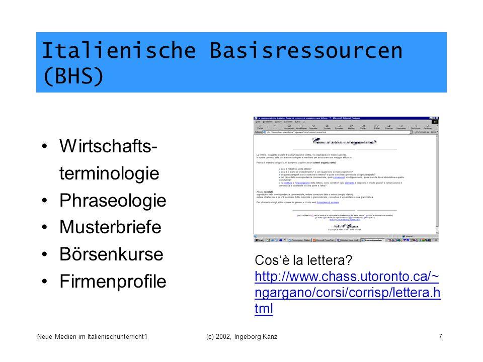 Italienische Basisressourcen (BHS)