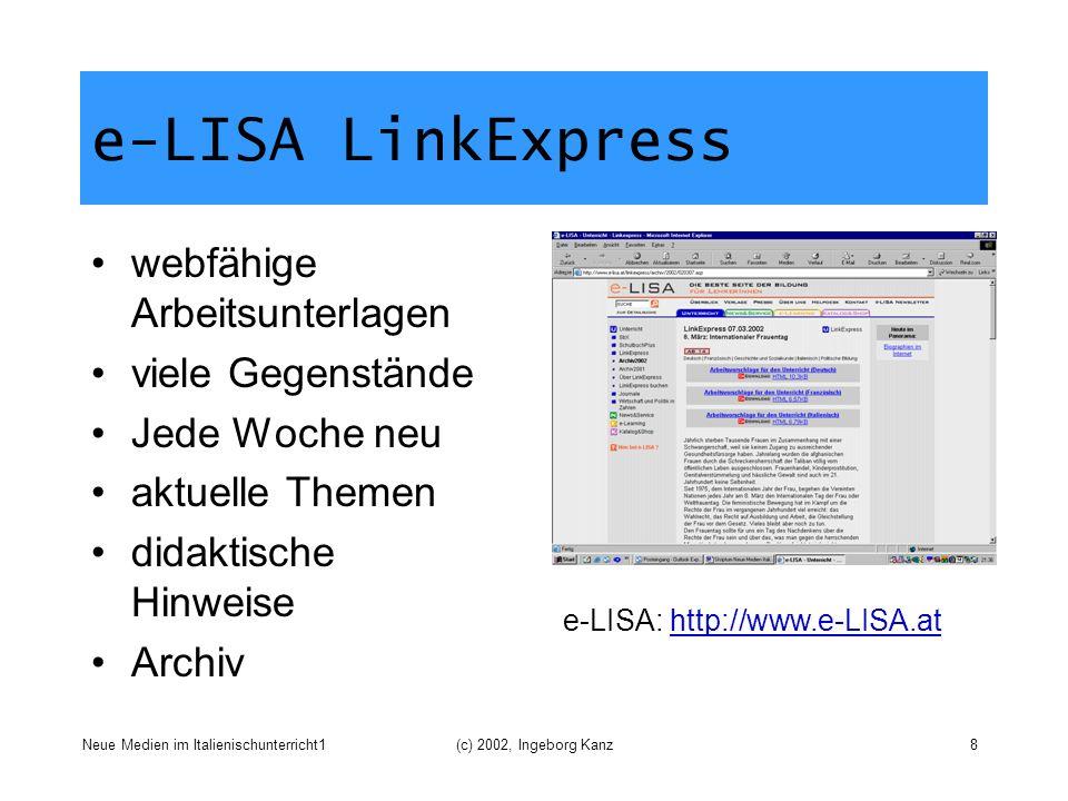 e-LISA LinkExpress webfähige Arbeitsunterlagen viele Gegenstände