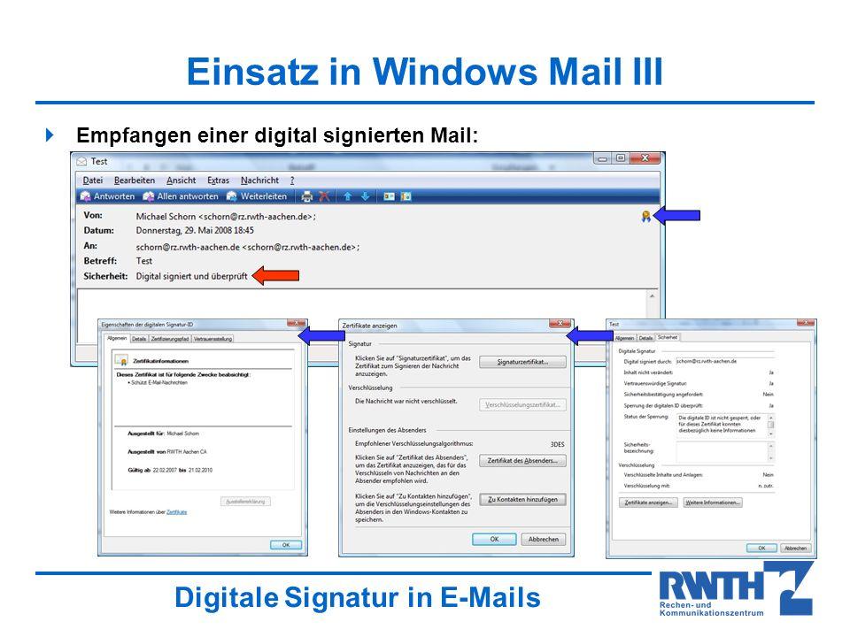 Einsatz in Windows Mail III