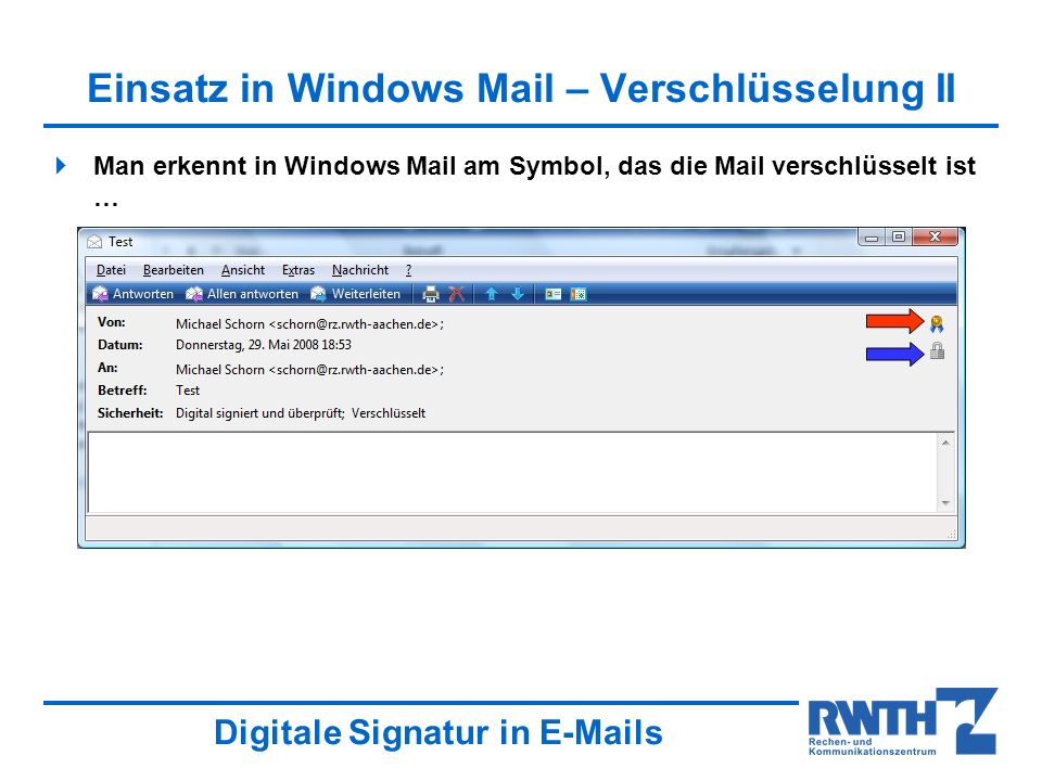 Einsatz in Windows Mail – Verschlüsselung II