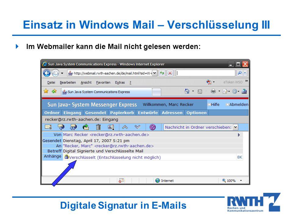 Einsatz in Windows Mail – Verschlüsselung III