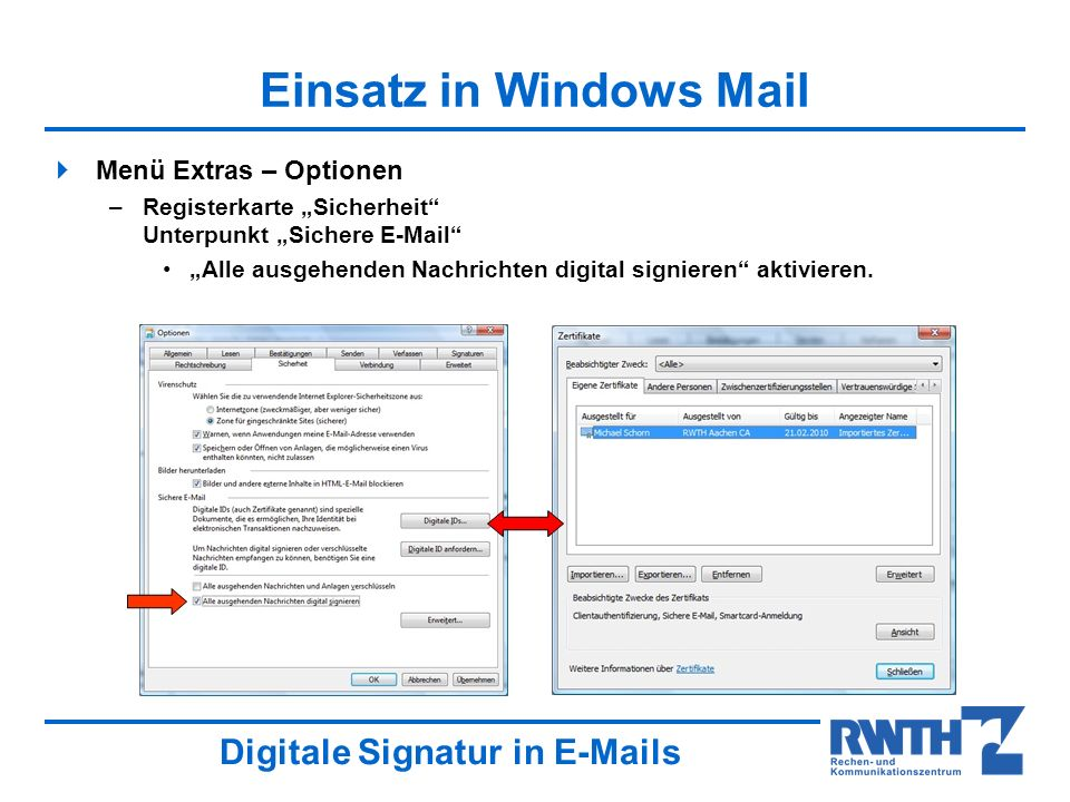 Einsatz in Windows Mail