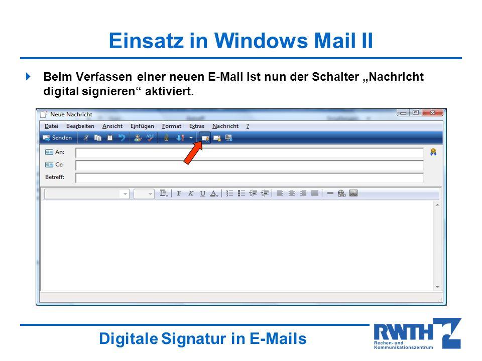 Einsatz in Windows Mail II