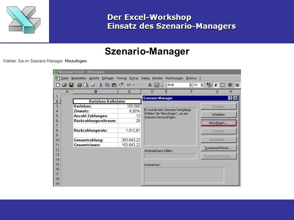 Szenario-Manager Der Excel-Workshop Einsatz des Szenario-Managers