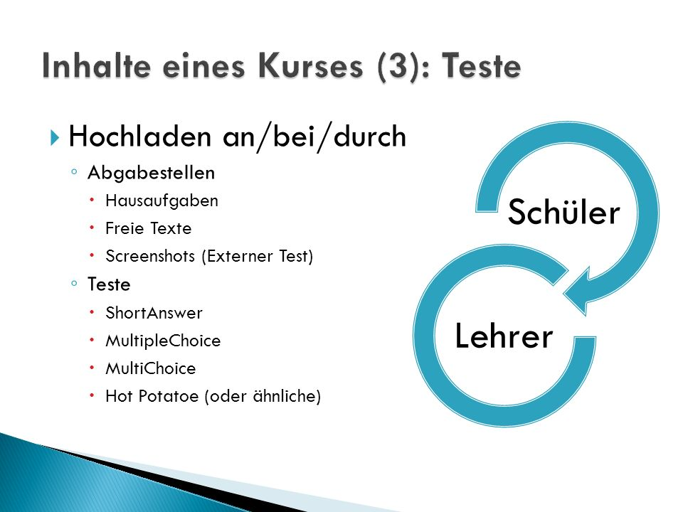 Inhalte eines Kurses (3): Teste