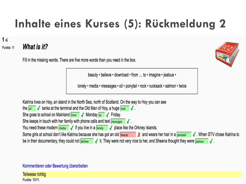 Inhalte eines Kurses (5): Rückmeldung 2