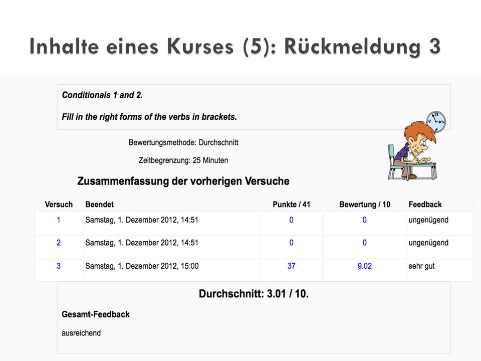 Inhalte eines Kurses (5): Rückmeldung 3