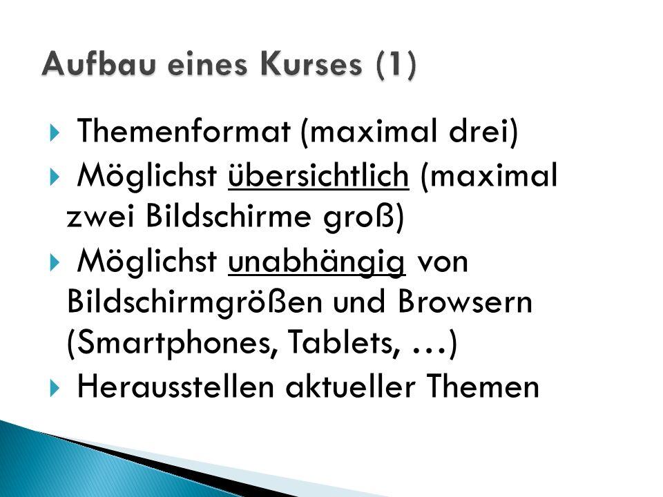 Aufbau eines Kurses (1) Themenformat (maximal drei) Möglichst übersichtlich (maximal zwei Bildschirme groß)