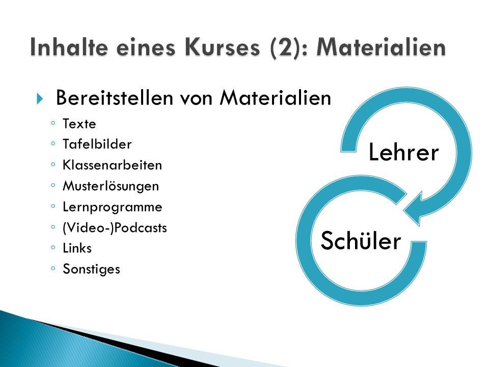 Inhalte eines Kurses (2): Materialien