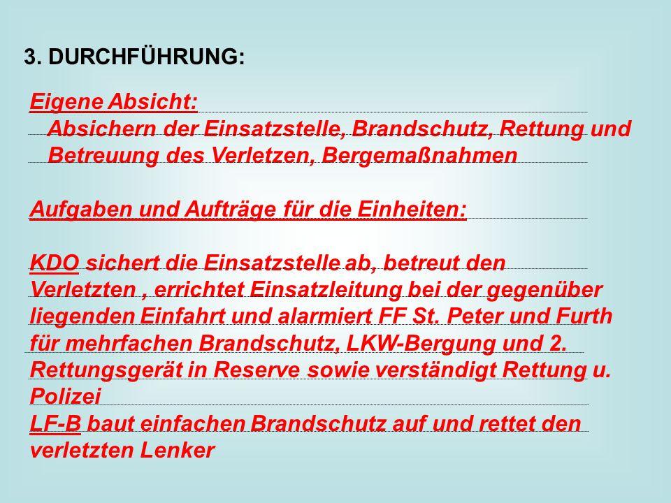 3. DURCHFÜHRUNG: Eigene Absicht: Absichern der Einsatzstelle, Brandschutz, Rettung und Betreuung des Verletzen, Bergemaßnahmen.