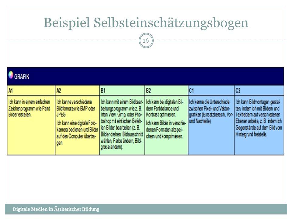 Beispiel Selbsteinschätzungsbogen
