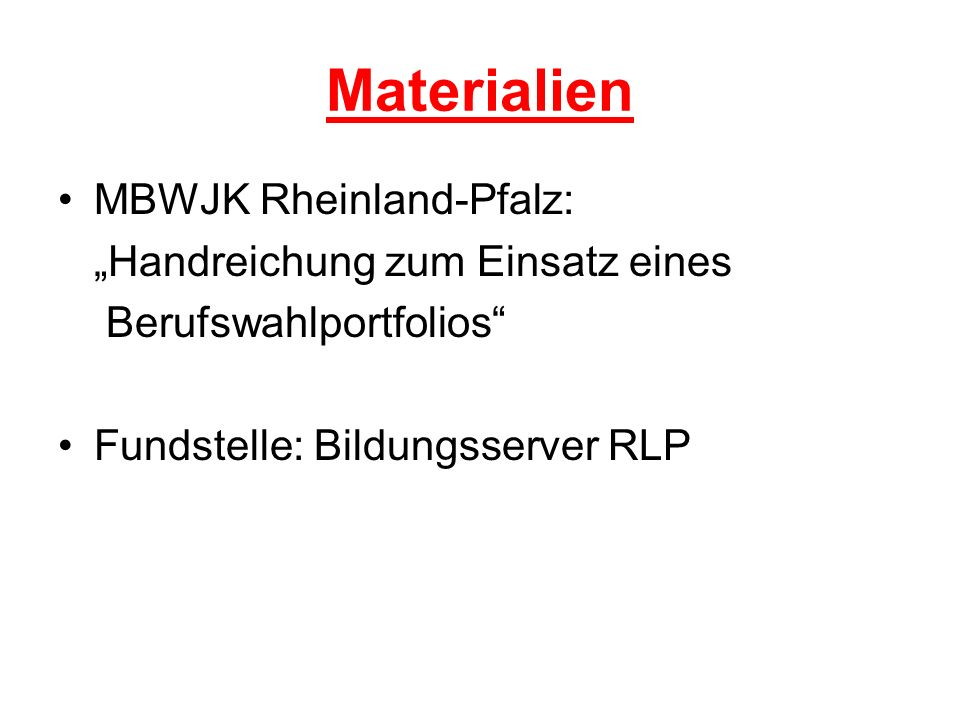 """Materialien MBWJK Rheinland-Pfalz: """"Handreichung zum Einsatz eines"""