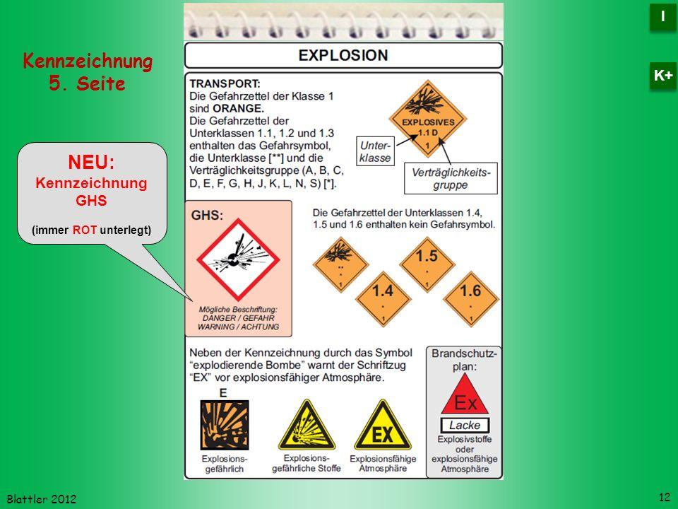 Kennzeichnung 5. Seite NEU: I K+ Kennzeichnung GHS