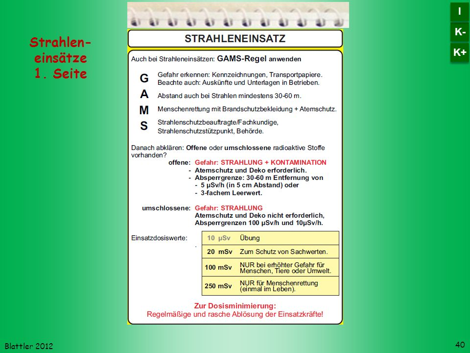 Strahlen- einsätze 1. Seite