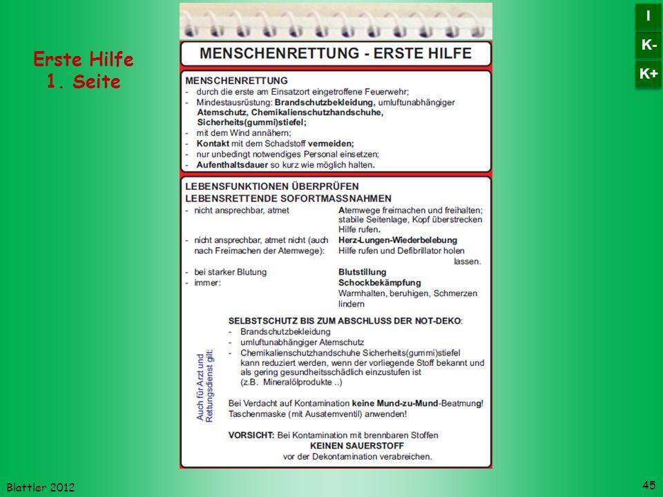 K- I K+ Erste Hilfe 1. Seite Blattler 2012