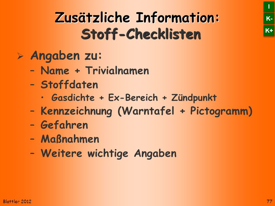 Zusätzliche Information: Stoff-Checklisten
