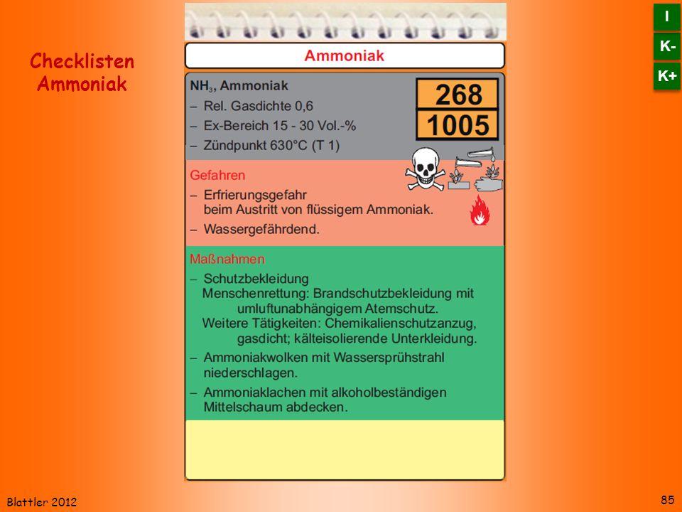 K- I K+ Checklisten Ammoniak Blattler 2012