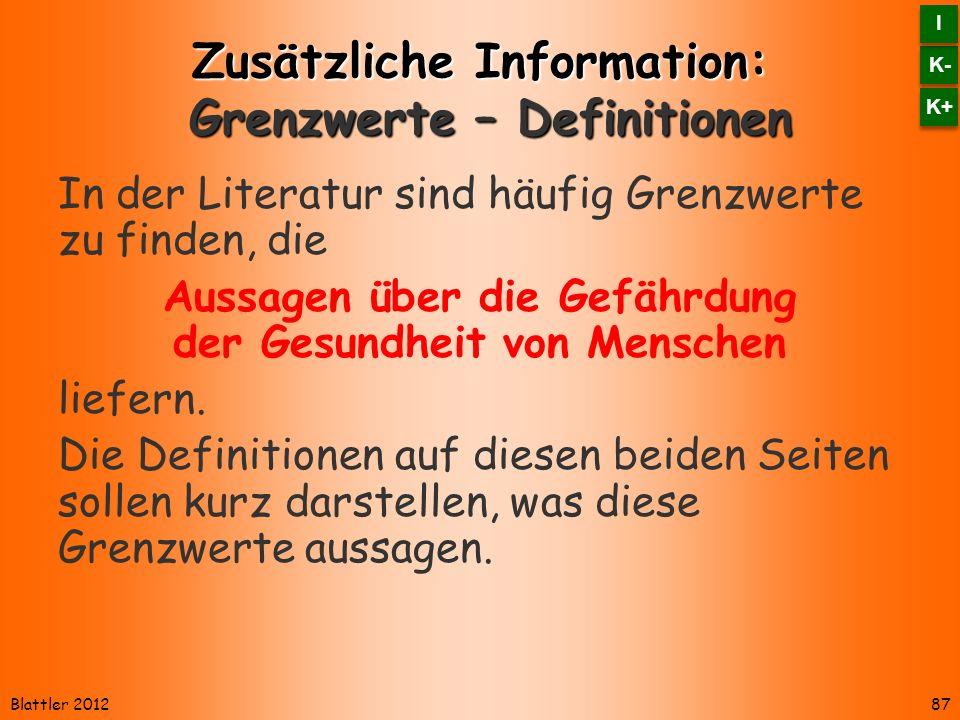 Zusätzliche Information: Grenzwerte – Definitionen