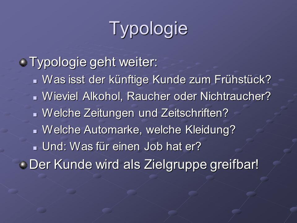 Typologie Typologie geht weiter: