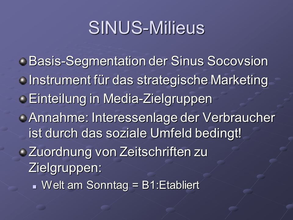 SINUS-Milieus Basis-Segmentation der Sinus Socovsion