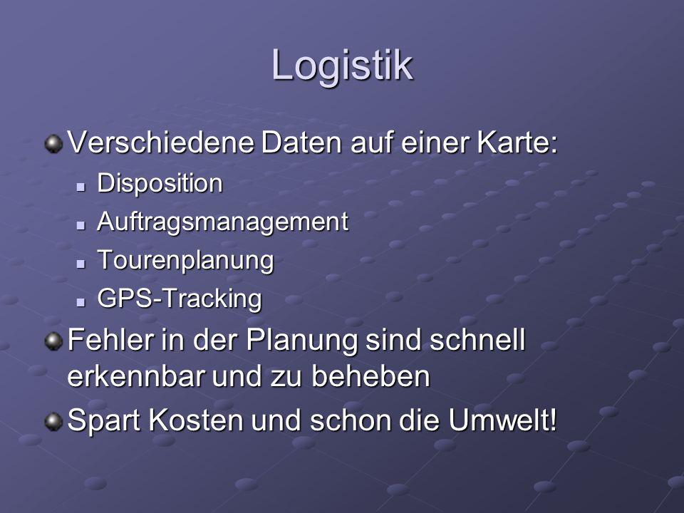 Logistik Verschiedene Daten auf einer Karte: