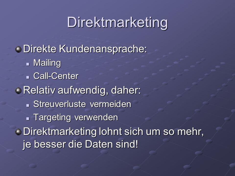 Direktmarketing Direkte Kundenansprache: Relativ aufwendig, daher: