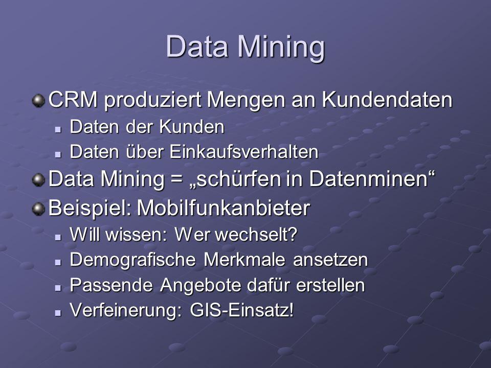 Data Mining CRM produziert Mengen an Kundendaten