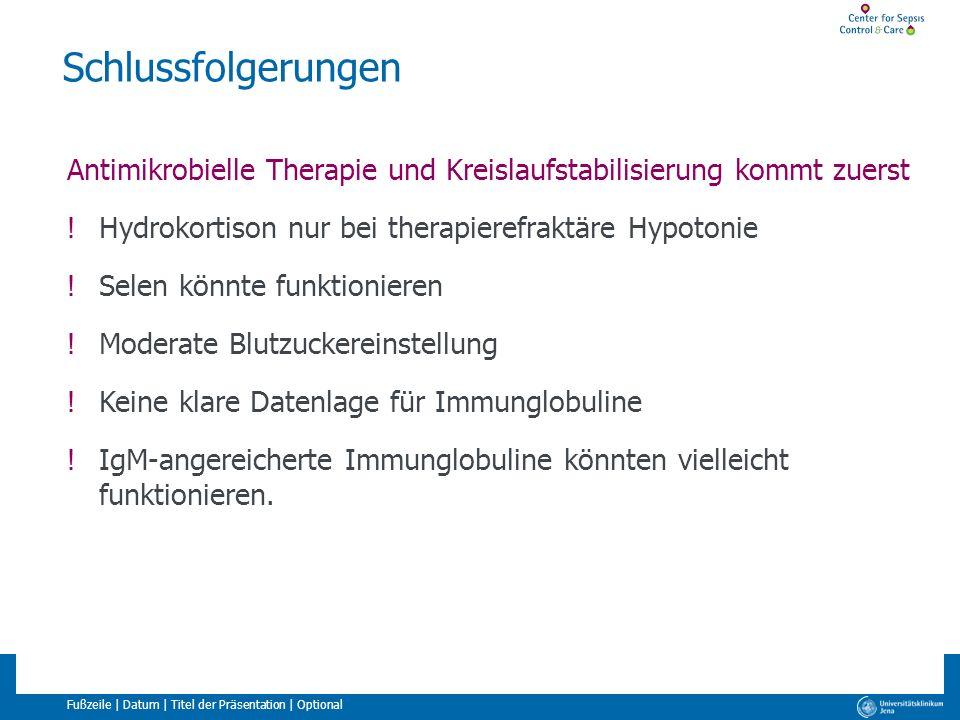Schlussfolgerungen Antimikrobielle Therapie und Kreislaufstabilisierung kommt zuerst. Hydrokortison nur bei therapierefraktäre Hypotonie.