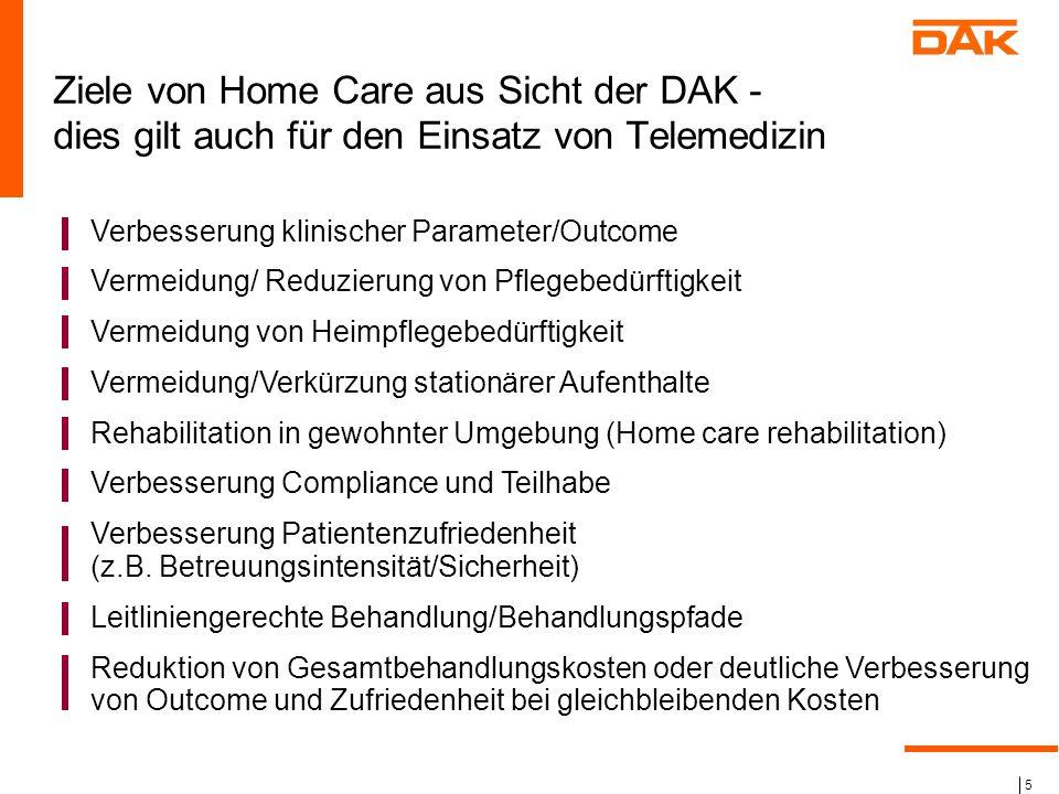 Ziele von Home Care aus Sicht der DAK - dies gilt auch für den Einsatz von Telemedizin