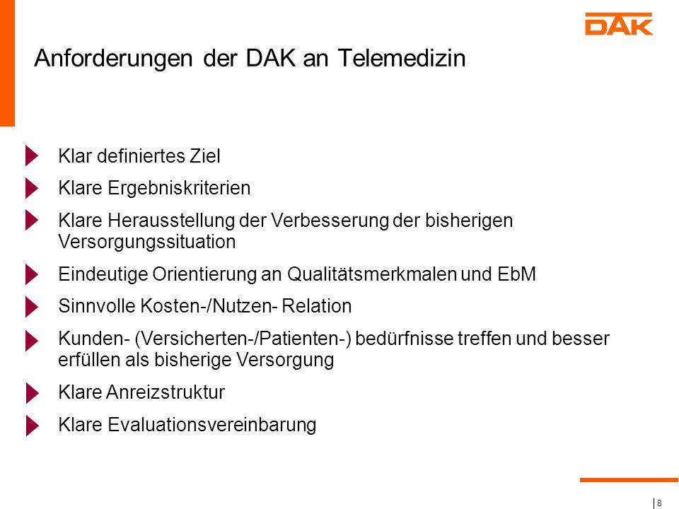 Anforderungen der DAK an Telemedizin
