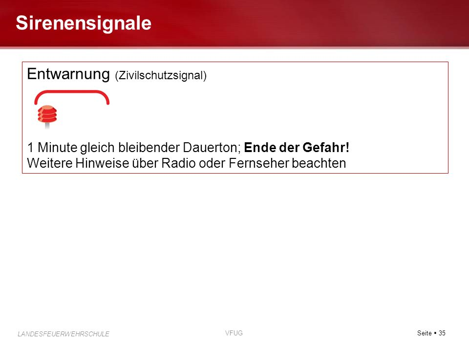 Sirenensignale Entwarnung (Zivilschutzsignal)