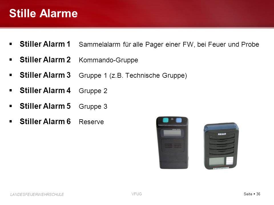 Stille Alarme Stiller Alarm 1 Sammelalarm für alle Pager einer FW, bei Feuer und Probe. Stiller Alarm 2 Kommando-Gruppe.