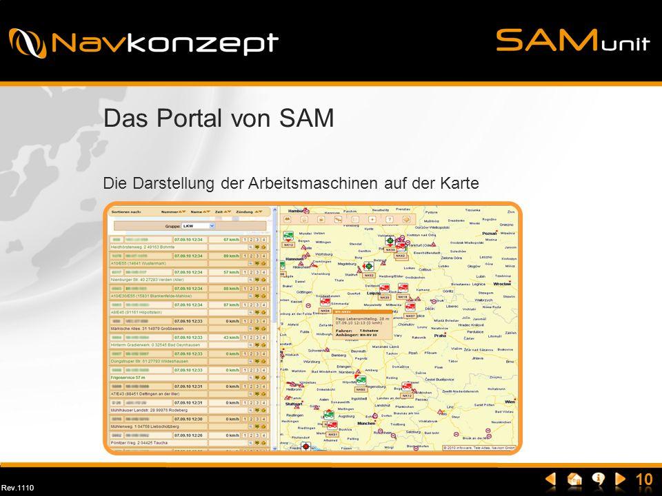 Das Portal von SAM Die Darstellung der Arbeitsmaschinen auf der Karte